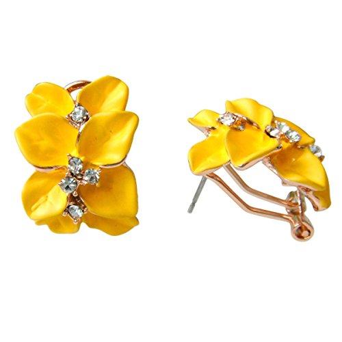 Navachi 18-karätig-vergoldete Omega-Ohrringe Az2862e mit Kristall-Blumen aus gelben Emaille-Blättern (Zu Verlässt Thanksgiving)