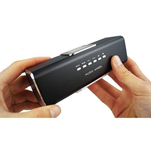 Music Angel - Power Sound Lautsprecher, kabellose mini Handy Boxen, Stereo Küchen-Radio mit Akku, portable Smartphone Box mit Radio-Wecker, USB-Slot, Line-In, MicroSD-Kartenslot, Display & Uhr schwarz