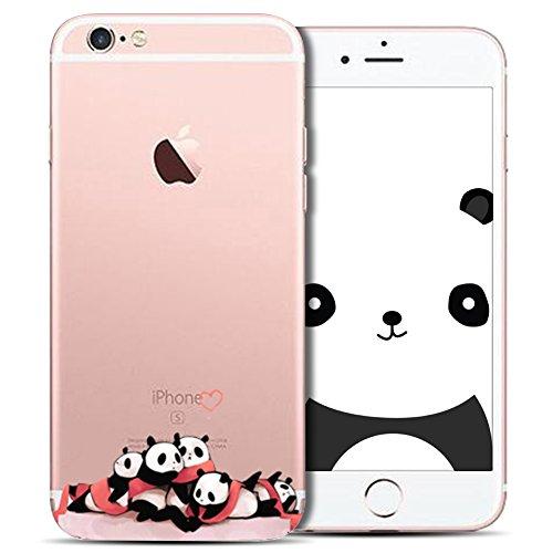 Cover iPhone 6 Plus Spiritsun Case iPhone 6S Plus Custodia Silicone Ultraslim Soft TPU Case Cristallo limpido Trasparente Cover Cartoon Kawaii Souple Flessibile Phone Protezione Case Per iPhone 6S Plu Panda 21
