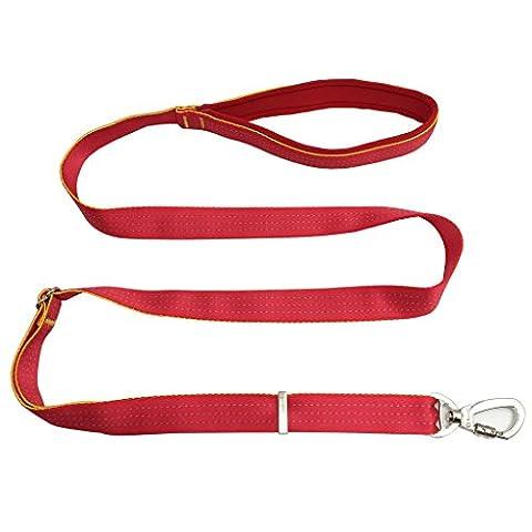 Einstellbare Nylon Hundeleine Führleine Gute Qualität Breite Starke Griff Robuste Trainingsleine Übungsleine für kleine große Hunde Rot