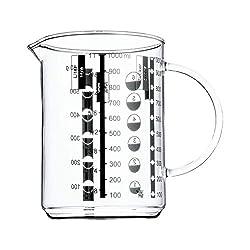 WMF Gourmet Messbecher, 1,0 l, hitzebeständiges Glas, Skalierung für Liter, Milliliter, Tassen und Gramm
