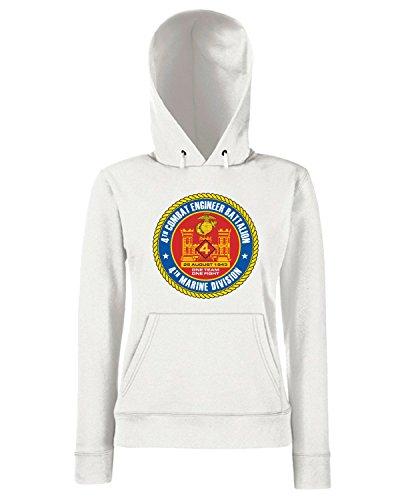 T-Shirtshock - Sweats a capuche Femme TM0347 4th Combat Engineer Battalion USMCR usa Blanc