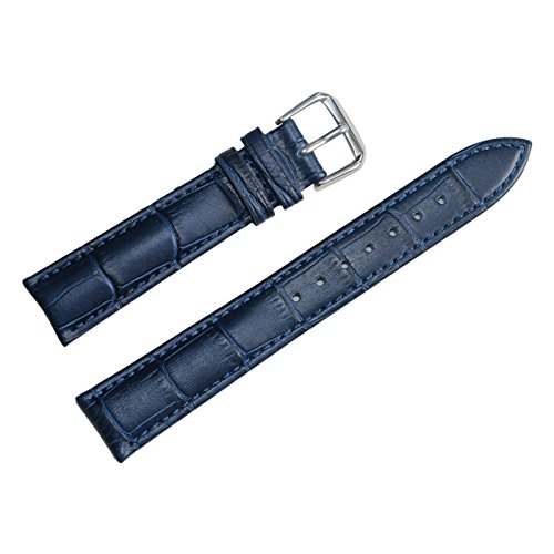 22mm azul banda de reloj del cuero genuino de las correas de piel de becerro mate cocodrilo grano acolchada