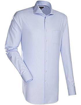 Jacques Britt Hemd Kai DF WP EL extra langer Arm Custom Fit Blau Weiß gestreift Größe 40