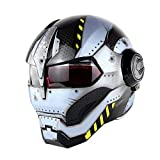 NBZH Casque De Moto D. O. T Certifié Motocross Full Face Casco Moto Flip Masque Ouvert Casque, Iron Man Transformers-M, L, XL Jaune,Transformers,XL