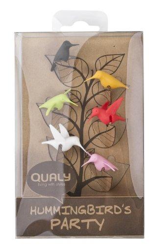 Qualy QL10101MX Glasmarkierer, 6 Stück / Pack Hummingbird Glass Tag