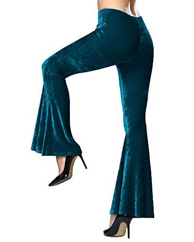 Minetom Damen Mode Casual Lange Stretch Hosen Slim Fit Flare Unten Hosen für Yoga Tanzen Grün EU L (Flare-hose Schnur)