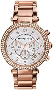 ساعة مايكل كورس باركر ستانلس ستيل بتصميم جليتز للنساء قياس واحد ذهبي وردي