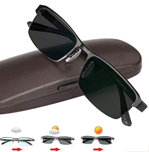 Lesebrille, Herren polarisierte photochrome Sonnenbrille Outdoor-Sport-Sonnenbrille, Ti-Legierung Rechteckiger Rahmen Ultra Light Sun Readers UV-Schutz Ermüdung der Augen,1.75