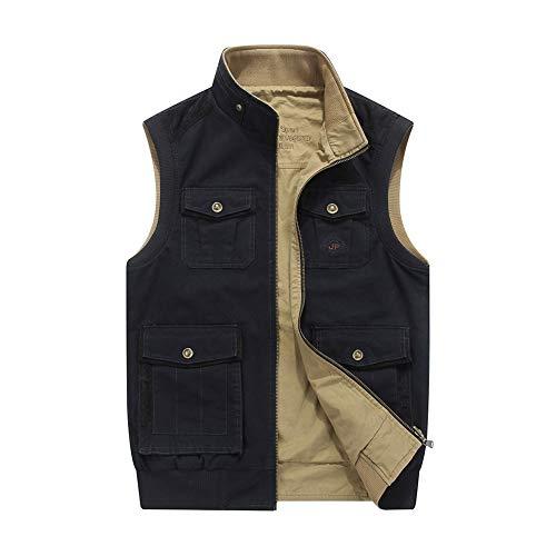 LXIANGP Herren Weste ärmellose Freizeitjacke doppelseitige Multi-Pocket-Größe lose Mantel geeignet für Outdoor-Reisen Angeln Fotografie Frühling und Herbst Modelle (M-8XL)