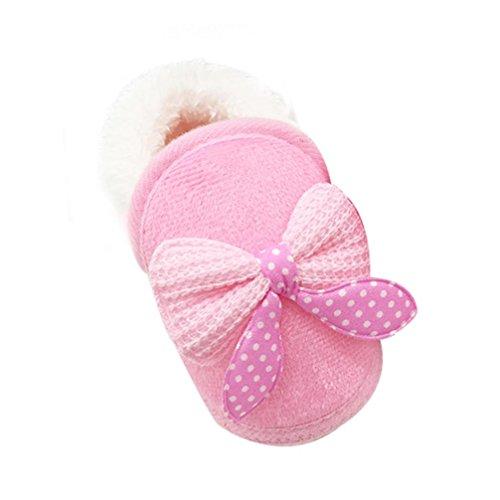 Babyschuhe Longra Baby Madchen kinder Bow Knit Woll Warm Weich Winter-Kleinkind Stiefel Schuhe (0~ 18 Monate) Pink