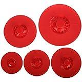 Tapa microondas, tapa sarten, iNeibo, tapas silicona para ollas, sartenes, horno, microondas, antisalpicaduras cocina, accesorios cocina, utensilios cocina 100% silicona sin BPA. Set de 5 tapas rojas