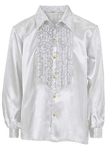 Das Kostümland Satin Rüschenhemd Johnny für Kinder - Silber Gr. 140