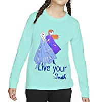 Disney Girl's Frozen Long Sleeve T-Shirts, Turquoise, 5 - 6 Years
