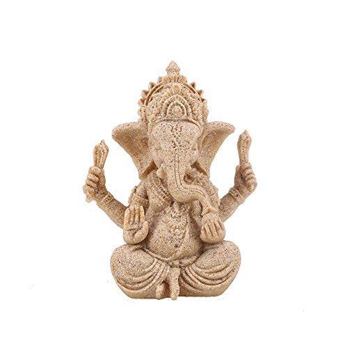 Kicode Buddha Elefant-Verzierung Statue Skulpturen Ganesha Sandstein-Figur Handgemachter Garten Wohnkultur