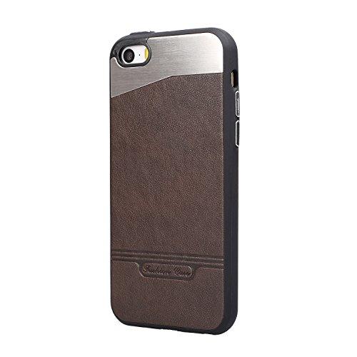 Sunroyal iPhone 5 Hülle Tasche, Bumper schutzhülle Aluminium iPhone 5s Schutzhülle Metall Hülle Hart Case Rückschale mit Legierung Premium Ultra dünn PU Leder Schutz Case für iPhone 5/5S/SE Stoßfest S Kaffee
