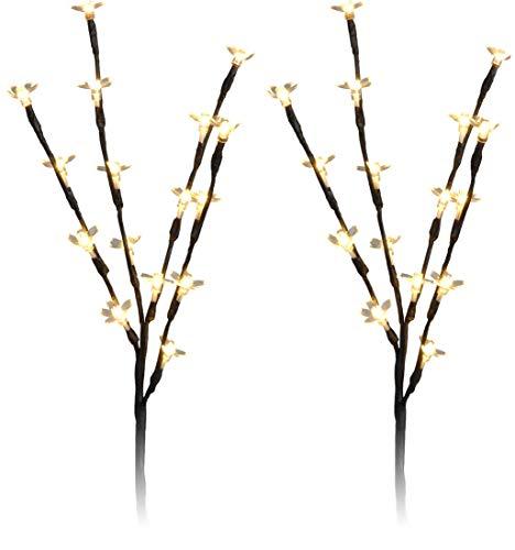 made2trade Deko Lichterstrauch mit 16 LEDs - 45cm - 2er - Beleuchtete Weiden