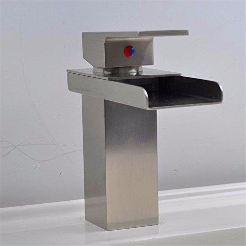 Qwer Heiße und kalte Dusche Waschbecken für Hoi An Ping Wasserfall führenden Bestseller Nickel gebürstet Wasserhahn Bad Armatur Wasserhahn