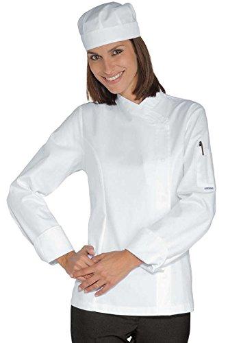 Isacco - Veste Chef Femme Snaps Blanc 100% Coton Blanc