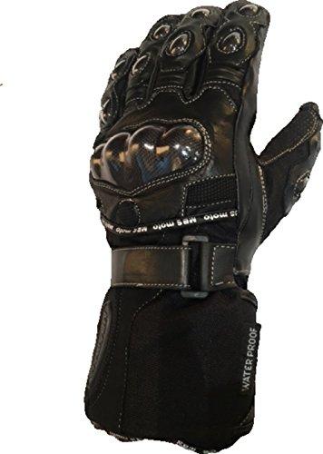 mbsmoto gll24Leder Textil Wasserdicht Winddicht Winter Schutz Bike Cruiser Touring Motorrad Handschuhe schwarz (Damen Cruiser Motorrad)