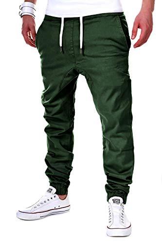 behype. Herren Chino-Hose Stretch Low Crotch Basic Jeans-Hose 80-0006 Khaki XXL/W38 -