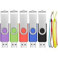 PenDrives 32GB 5 Piezas Práctico Memorias USB - Giratoria Pen Drive 32 GB Kit 5 Unidades Portátil y Económico Unidad Flash USB 2.0 - Almacenamiento de Dato Multicolor Llave USB con Cuerda by FEBNISCTE