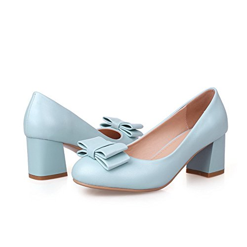 AllhqFashion Femme Rond à Talon Correct Matière Souple Couleur Unie Tire Chaussures Légeres Bleu