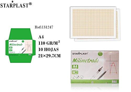 Starplast 131247 - 2 Pack de papel milimetrado, total 20 hojas , A4