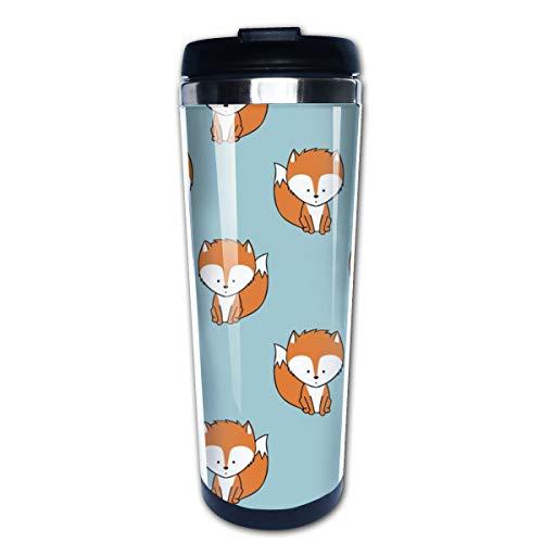Baby Fox Orange On Dark Blue Multi Insulated Stainless Steel Travel Mug 14 oz Classic Lowball Tumbler with Flip Lid Blue Barrel Mug