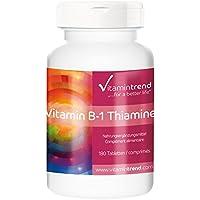 Vitamine B-1 100mg Thiamine, 180 comprimés, végétarien, Flacon avantageux pour 6 mois