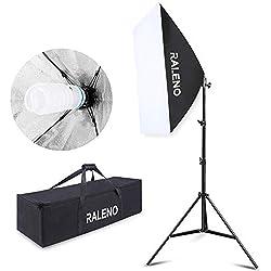 Softbox Eclairage Vidéo, RALENO 50x70 cm kit de Studio d'éclairage pour Photo avec Ampoule CFL Continue 5500K E27 pour Les Portraits, Les Objets, Les Photos de Mode et Les vidéos publicitaires