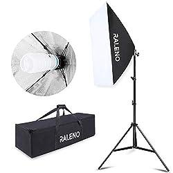 Softbox Dauerlicht Studioleuchten Kit, RALENO Fotoleuchte Fotogeräte Beleuchtungs Kit mit Stativ Tragetasche 85W Fotolampe