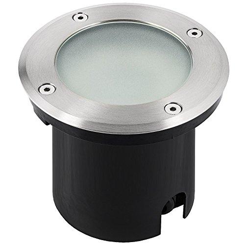 garten bodenleuchten LED Bodeneinbauleuchte MARNE für Aussen IP65 in rund Edelstahl gebürstet mit Echt-Glas matt inkl. LED GU10 230V 6W warmweiß