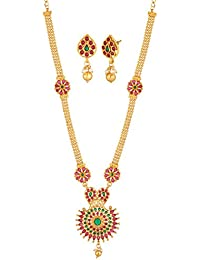 Apara Long Haram And Multi Strand Necklace Set Combo For Women / Girls