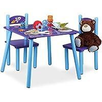 Preisvergleich für Relaxdays Kindersitzgruppe FUNNY Weltraum-Motiv, 1 Tisch, 2 Stühle, Holz, Kindertischgruppe für Jungen, blau / lila