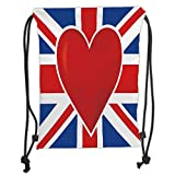 GONIESA Drawstring Sack Backpacks Bags,Union Jack,British Flag with a Big Red Heart in Center Nationality Pride Concept Decorative,Royal Blue Red White Soft Satin,5 Liter Capacity,Adjustable St