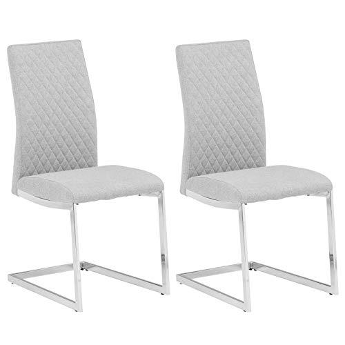 IDIMEX Schwingstuhl Dora Stoff, Freischwinger Stuhl Esszimmer Stühle Küchen Polster, Stoffbezug hellgrau im 2er Pack modernes Design -
