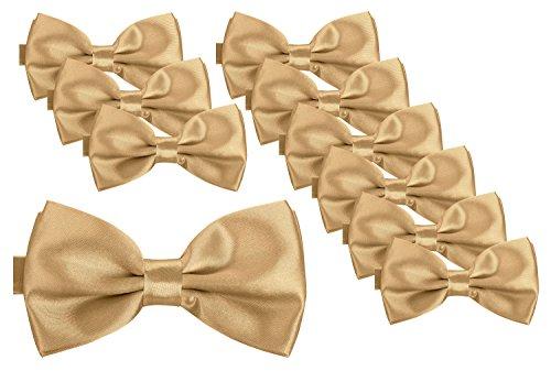 BomGuard Fliege für Herren champagne I Männer Fliege für Hochzeit, Party oder edele Anlässe I Trendy Bow Tie I 10er Set (Grün-gold Bow Tie)