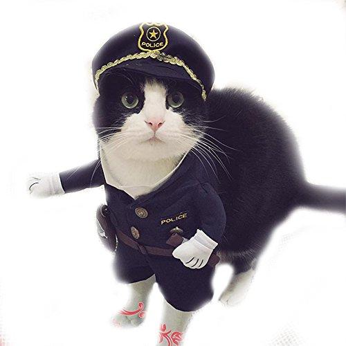 Halloween Haustier Katze Hund Police Kostüm Outfits Kleidung mit Hund Police Hat kleine Hunde/Welpen Party Kleid (Kostüm Hund Stehend)
