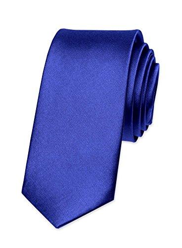 Autiga® Krawatte Herren Hochzeit Konfirmation Slim Tie Retro Business Schlips schmal mittelblau