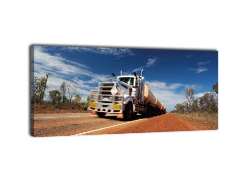 Leinwandbild Panorama Nr. 279 Truck im Outback 100x40cm, Keilrahmenbild, Bild auf Leinwand, Australien Highway Wüste