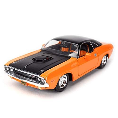 Sportwagen-Druckgussmodell, 1:24 Proportional Dodge Challenger-Höhendetail Aus Legierung, Tür zum Öffnen von Handwerksornamenten (Color : Orange, Size : 20 * 9 * 5.1CM) -