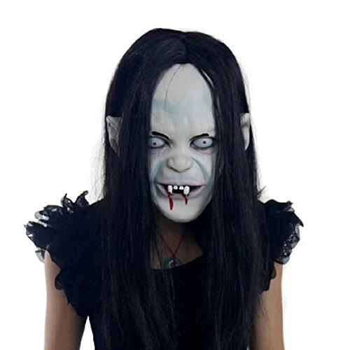 Uniqstore Halloween Maske Sadako Latex gruselig halloween Masquerade zahny Sadako Zombie Mask Ghost mit Haare Mask (Zwei Mensch Hund Kostüm)