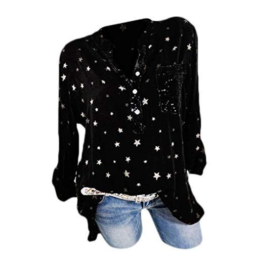 MEIbax Frauen Mode Plus Size Print Taschen Knopf Langarm Shirt Damen Tops Bluse Oberteile Langarmshirt Hemd