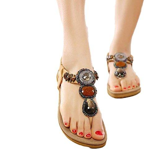 Ouneed® Mode Süße wulstige Clip Zeheebenen Bohemian Herringbone Sandalen Flip Flops Damen Erwachsene Zehentrenner Khaki