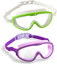 Gnker 2-Pack Kids Swim Goggles, Swimming Glasses for Children and Early Teens from 3 to 15 Years Old, Wide Vis