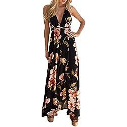 Vestidos largos mujer, Amlaiworld Vestido de fiesta largo Sexy del verano de mujeres Boho Vestido de playa vestido de fiesta largos de noche elegantes (Negro, S)
