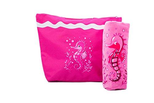 AIREE FAIREE Strandtasche Damen (50 x 38 cms) + Strandtuch (75 X 150 cms) Schultertasche Shopper mit Reißverschluss Schließung Sommer Tasche Baumwolle-Strandtuch Seepferdchen Muster (Rosa)