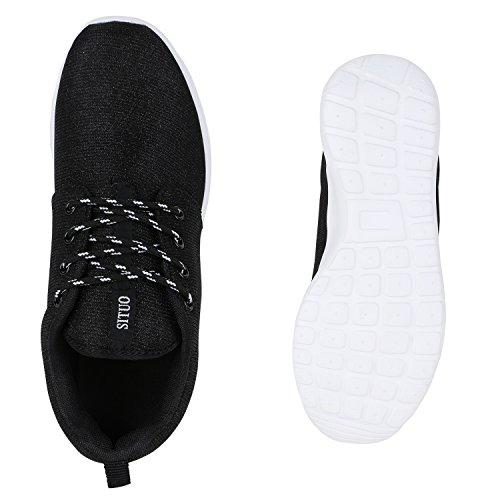 Damen Laufschuhe | Modische Sportchuhe| Sneaker Profilsohle |Glitzer Pailletten Sneakers | Runners Snake Blumen Schwarz Weiss Black