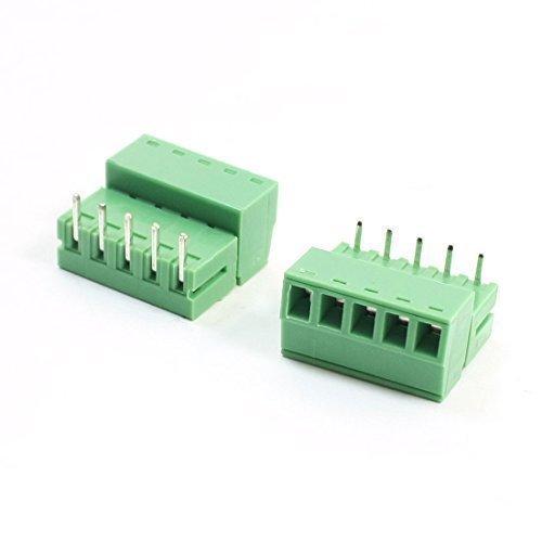 sourcingmap® 2 pezzi 300 V 6 A 3,81 mm 5 pin attraverso foro PCB angolo vite Morsettiera - 22 Angle Pezzo
